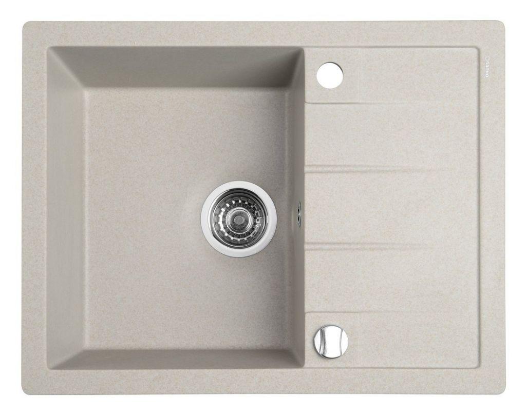 SAPHO Dřez granitový vestavný s odkapávací plochou, 65x50 cm, béžová GR6502