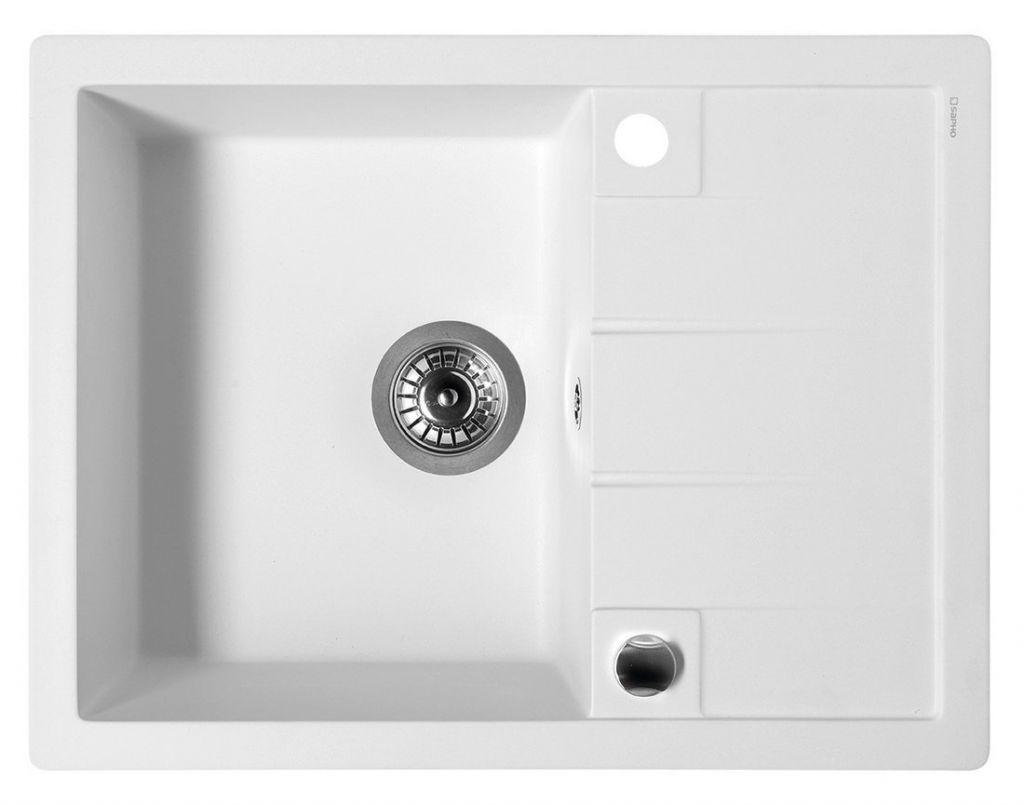 SAPHO Dřez granitový vestavný s odkapávací plochou, 65x50 cm, bílá GR6501