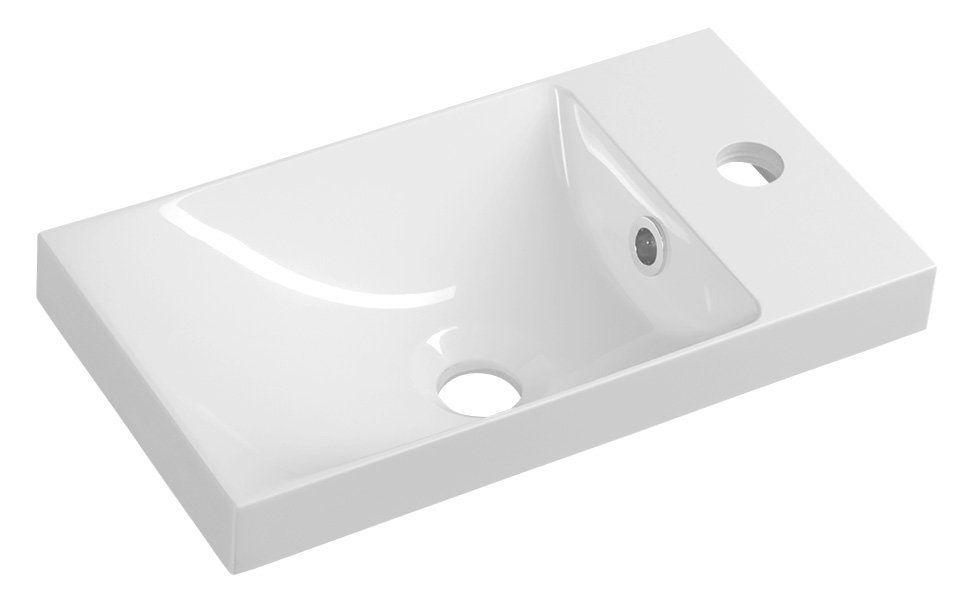 SAPHO AGOS umyvadlo 40x22cm, litý mramor, bílá, levé/pravé AS040