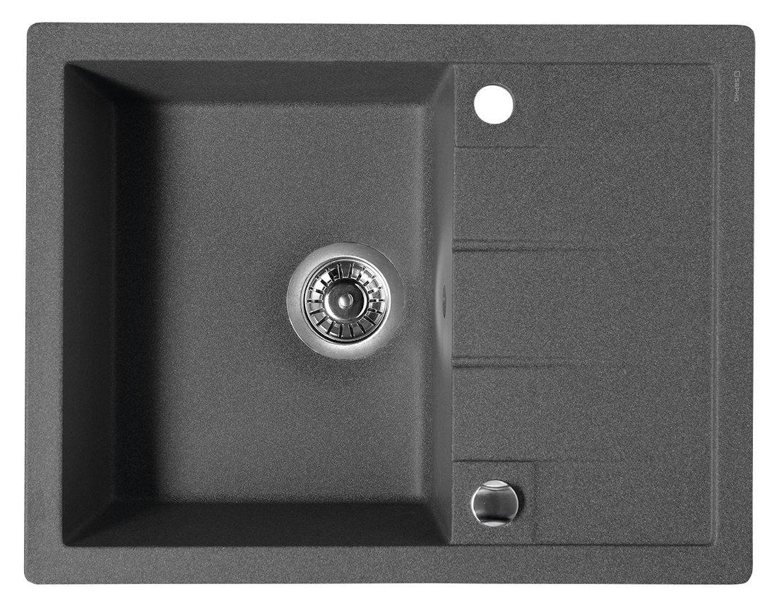 SAPHO Dřez granitový vestavný s odkapávací plochou, 65x50 cm, černá GR6504