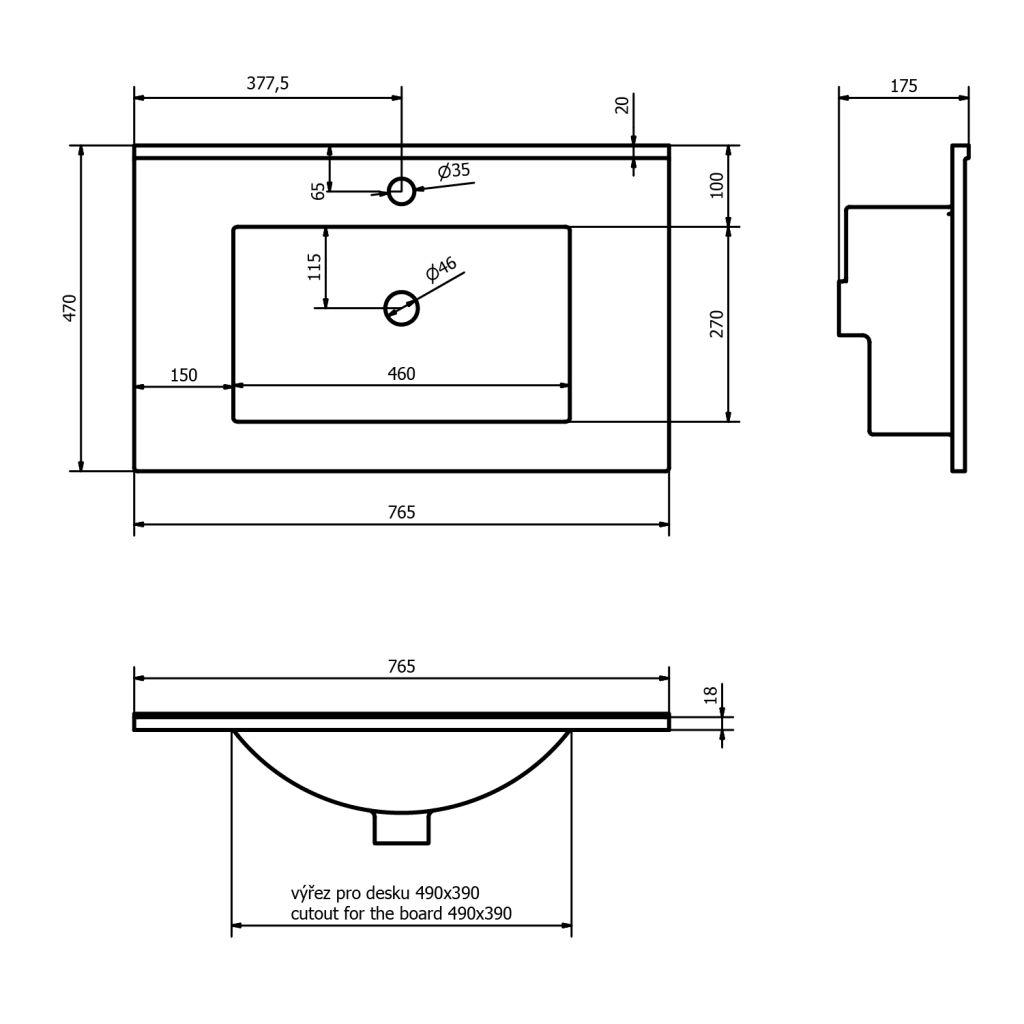 SAPHO - SLIM keramické umyvadlo 76,5x46cm, nábytkové (1601-75)