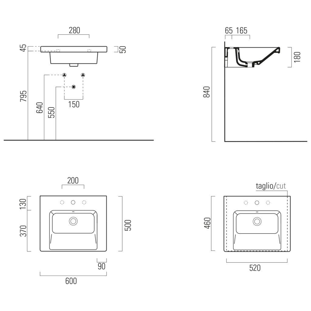GSI - NORM keramické umyvadlo 60x18x50 cm, bílá ExtraGlaze (8635111)