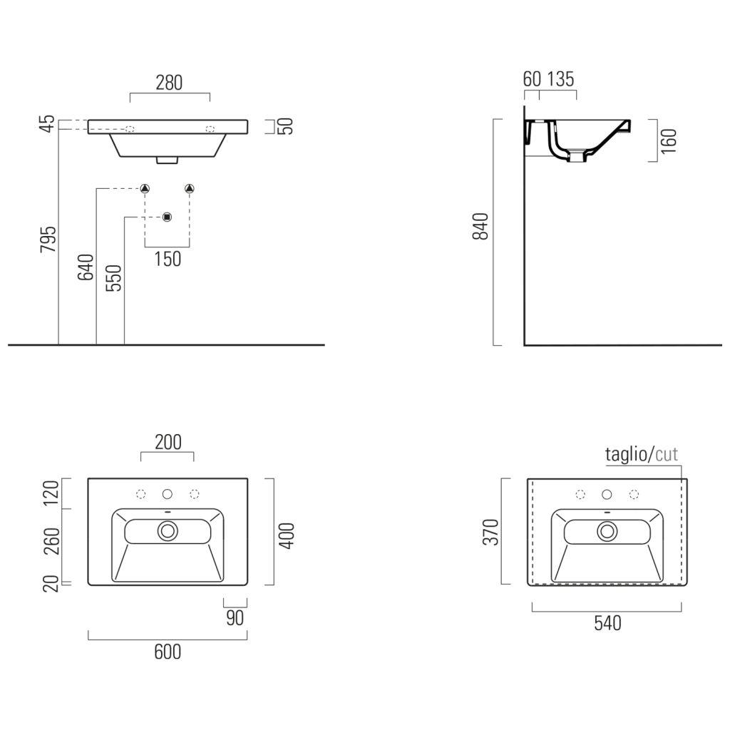 GSI - NORM keramické umyvadlo 60x18x40 cm, bílá ExtraGlaze (8636111)