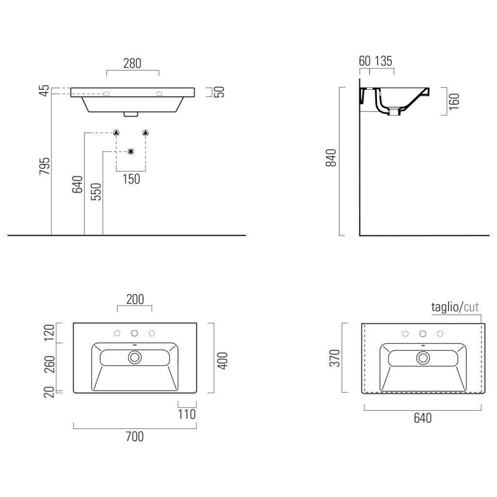GSI - NORM keramické umyvadlo 70x18x40 cm, bílá ExtraGlaze (8637111)