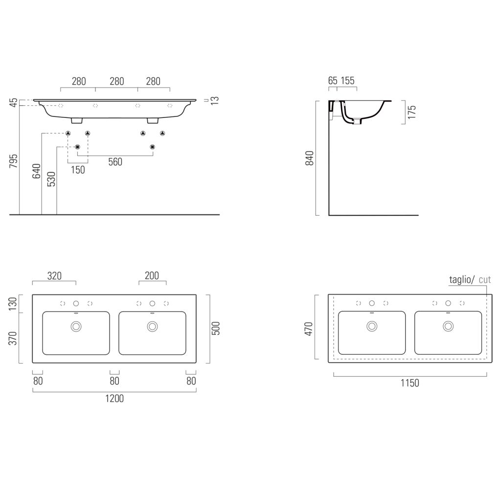 GSI - PURA keramické dvojumyvadlo Slim 120x50 cm, bílá ExtraGlaze (8845111)