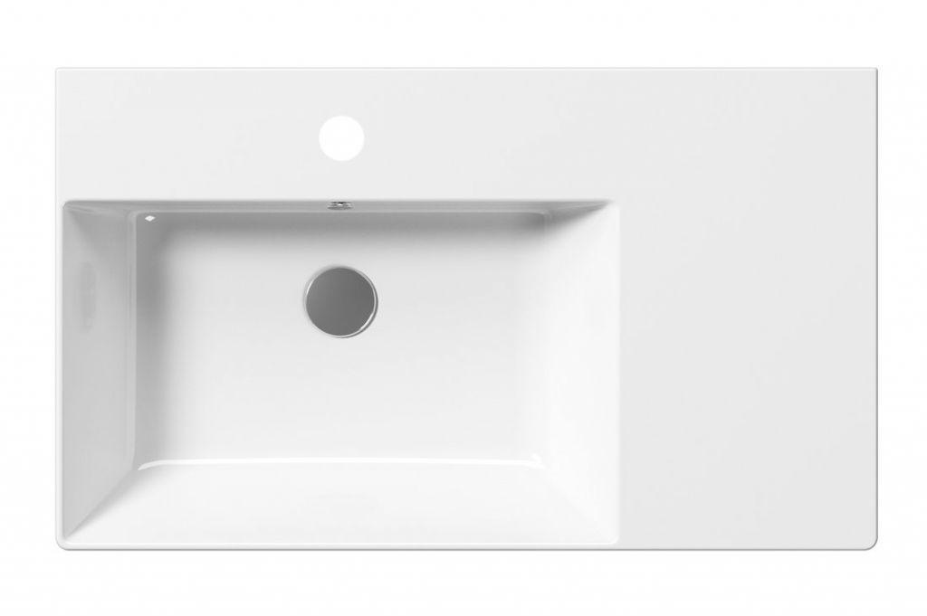 GSI - KUBE X keramické umyvadlo 80x47 cm, s odkladnou plochou vpravo, bílá ExtraGlaze (9456111)