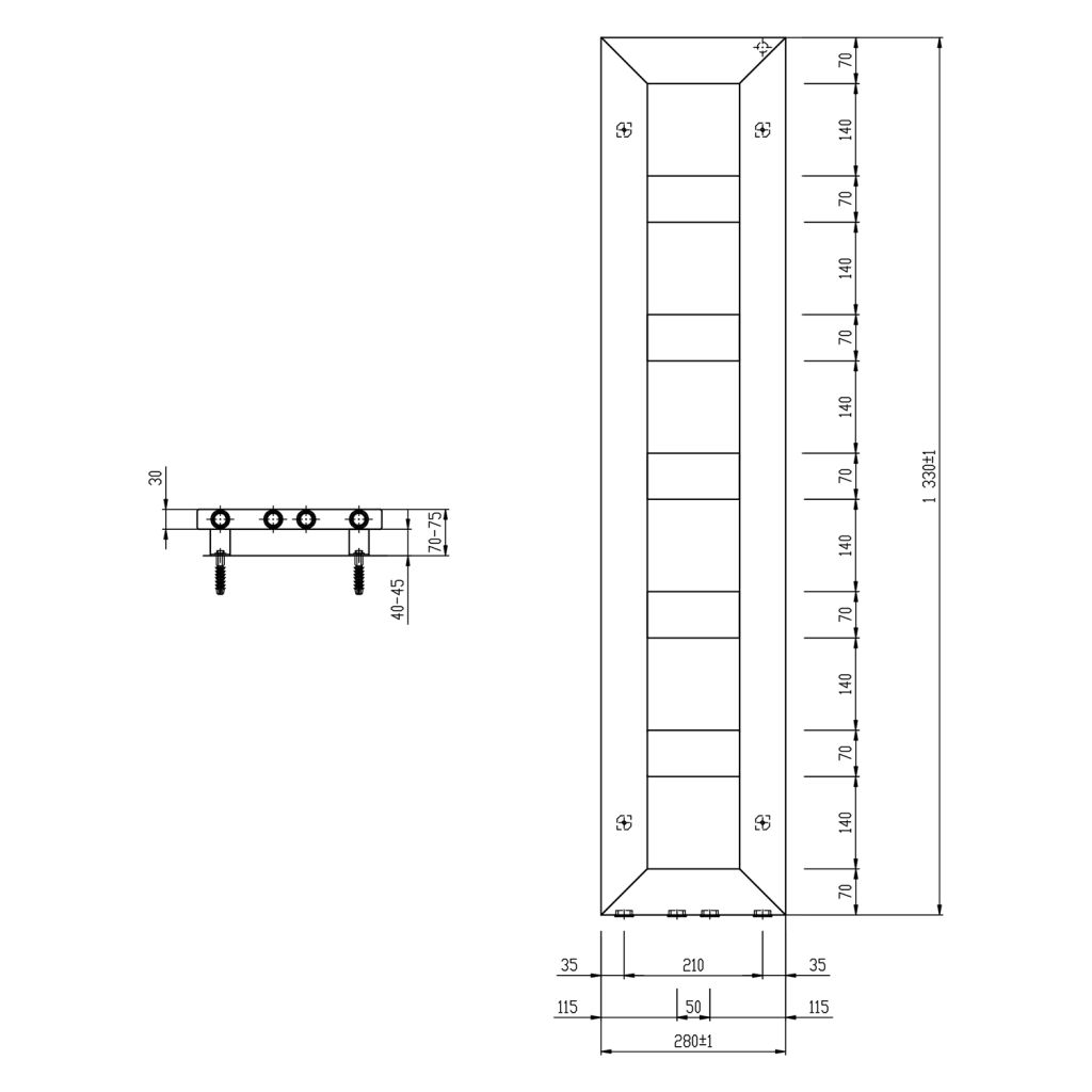 SAPHO - BLOCK otopné těleso 280x1330 mm, černá mat (IR181)
