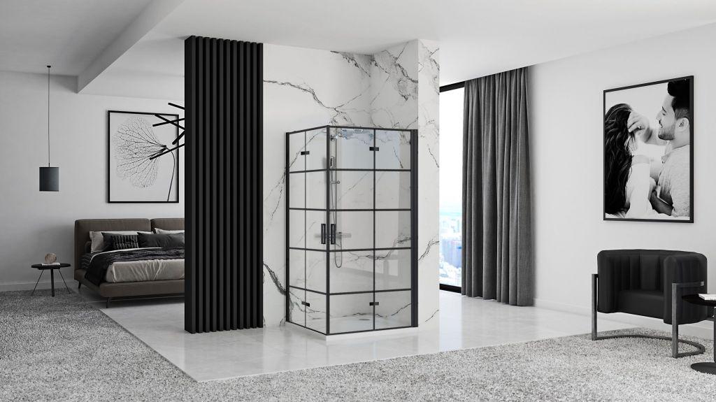 REA/S - Sprchový kout MOLIER dveře/dveře 100X100 BLACK (MOLDD100100B)
