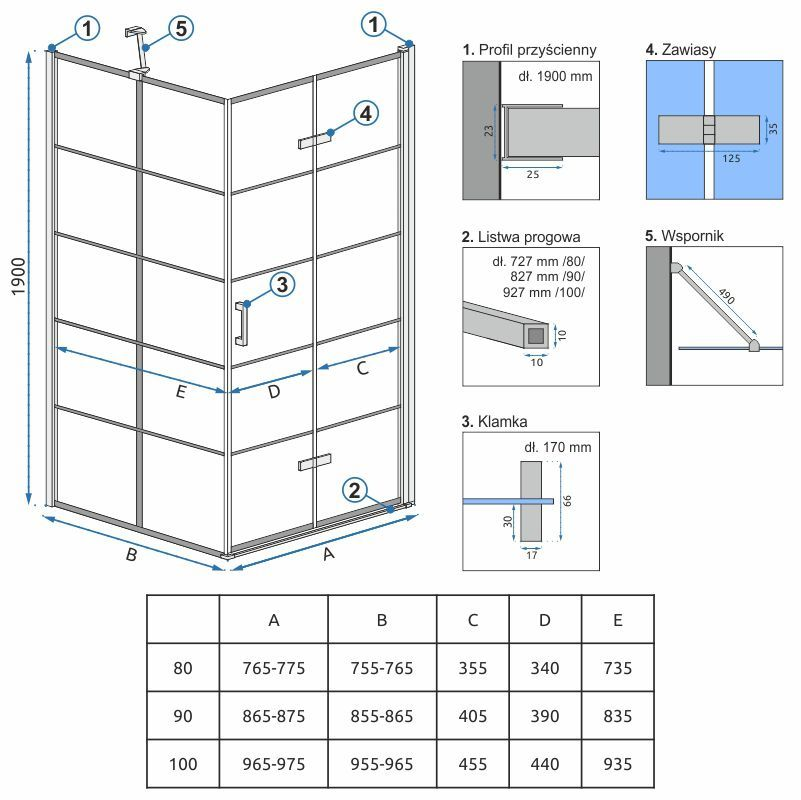 REA/S - Sprchový kout MOLIER dveře/stěna 100X100  MOLDS1000100B