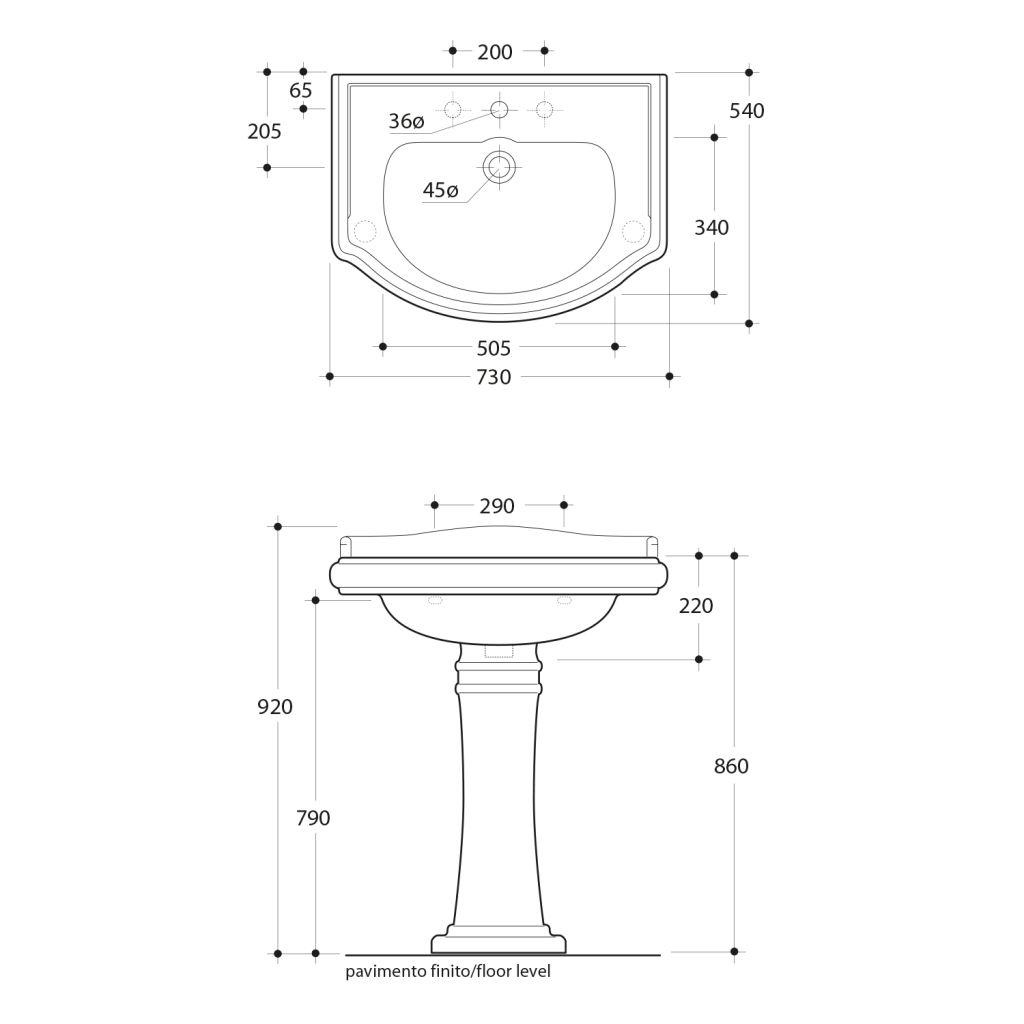 KERASAN - RETRO keramické umyvadlo 73x54cm (104701)
