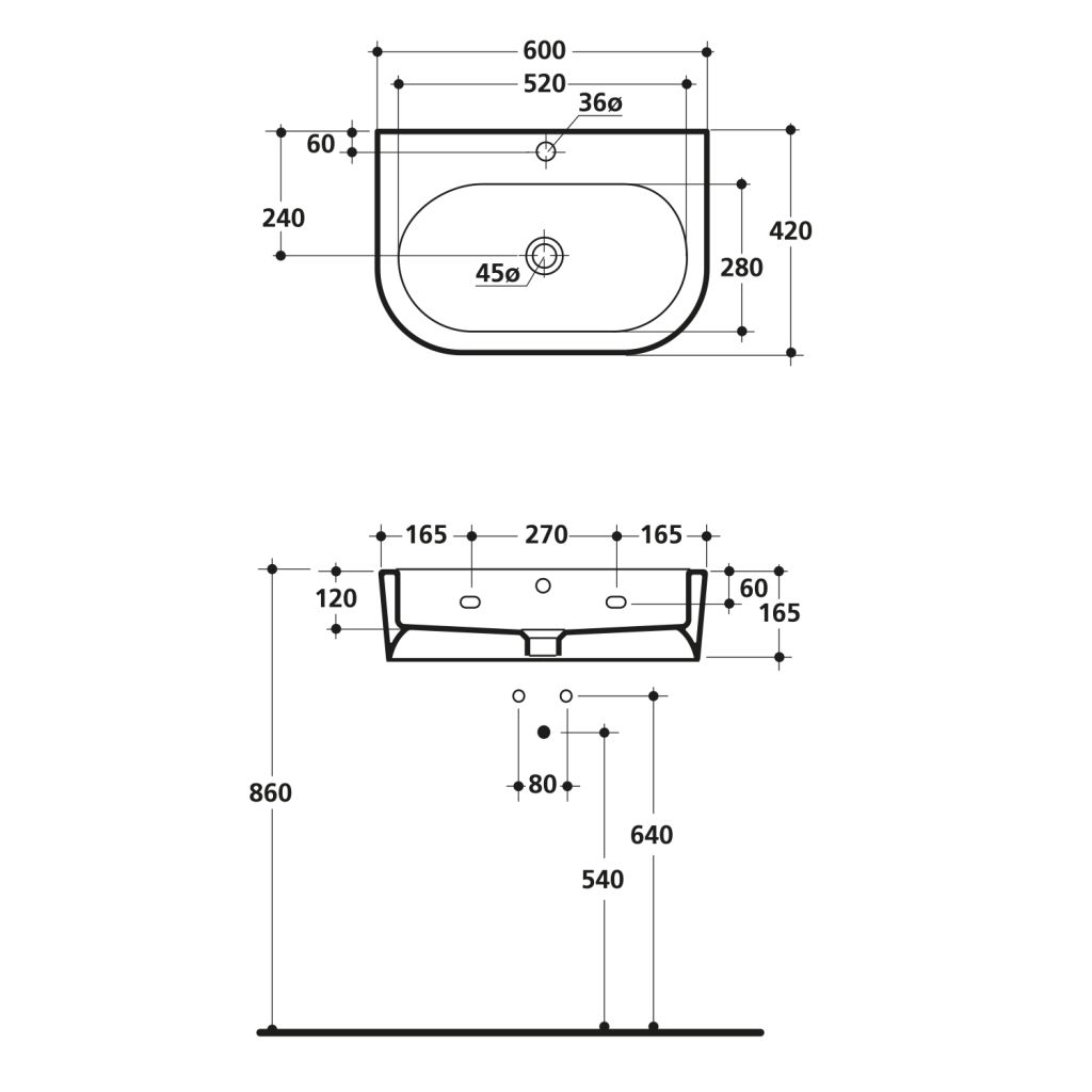 KERASAN - FLO keramické umyvadlo 60x42cm (314201)
