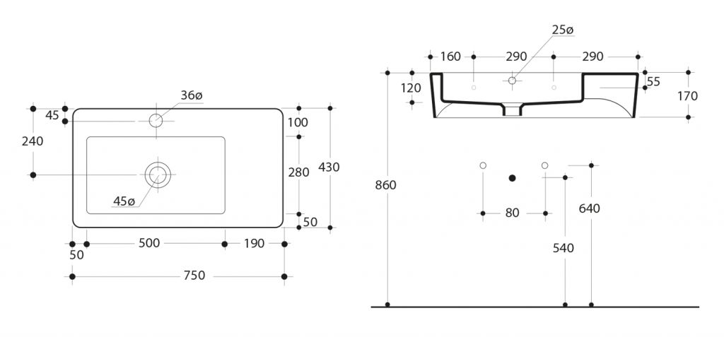 KERASAN - EGO keramické umyvadlo 75x43cm, s odkládací plochou (324301)