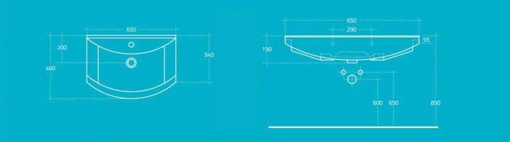 AQUALINE - ZERO nábytkové umyvadlo 65x46cm (6065)