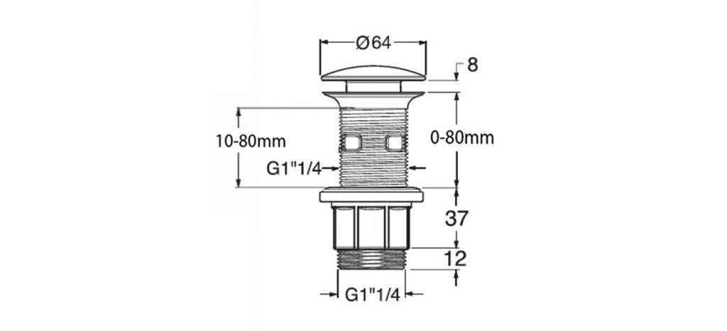 """SILFRA - Umyvadlová výpust 5/4"""", click-clack, velká zátka, tl.10-80mm, ABS/chrom (WA43451)"""