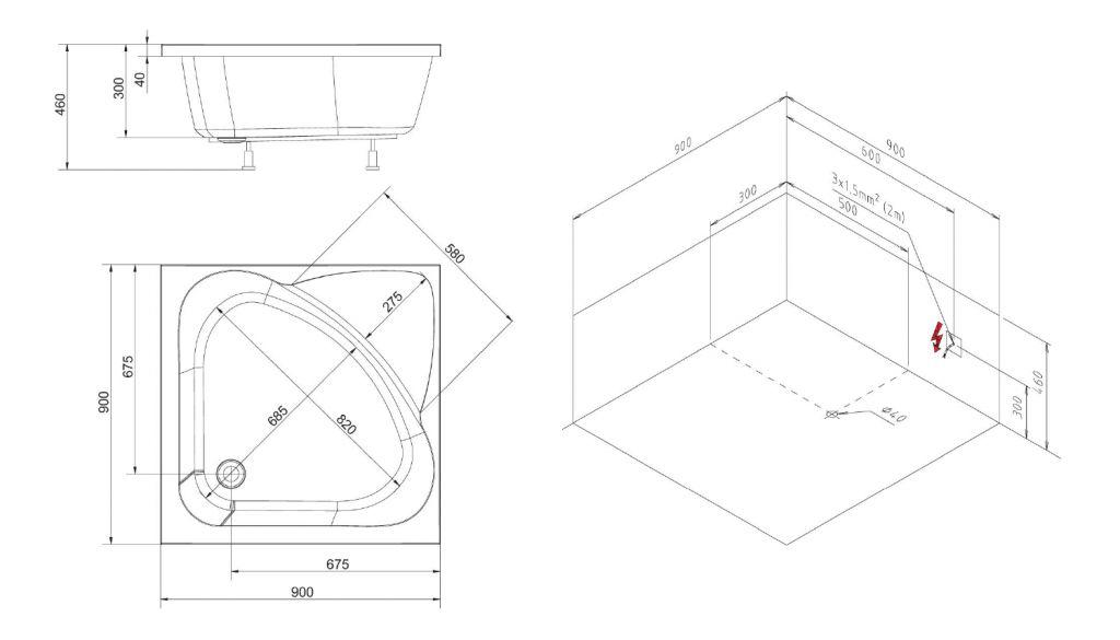 POLYSAN - CARMEN hluboká sprchová vanička, čtverec 90x90x30cm, bílá (29611)