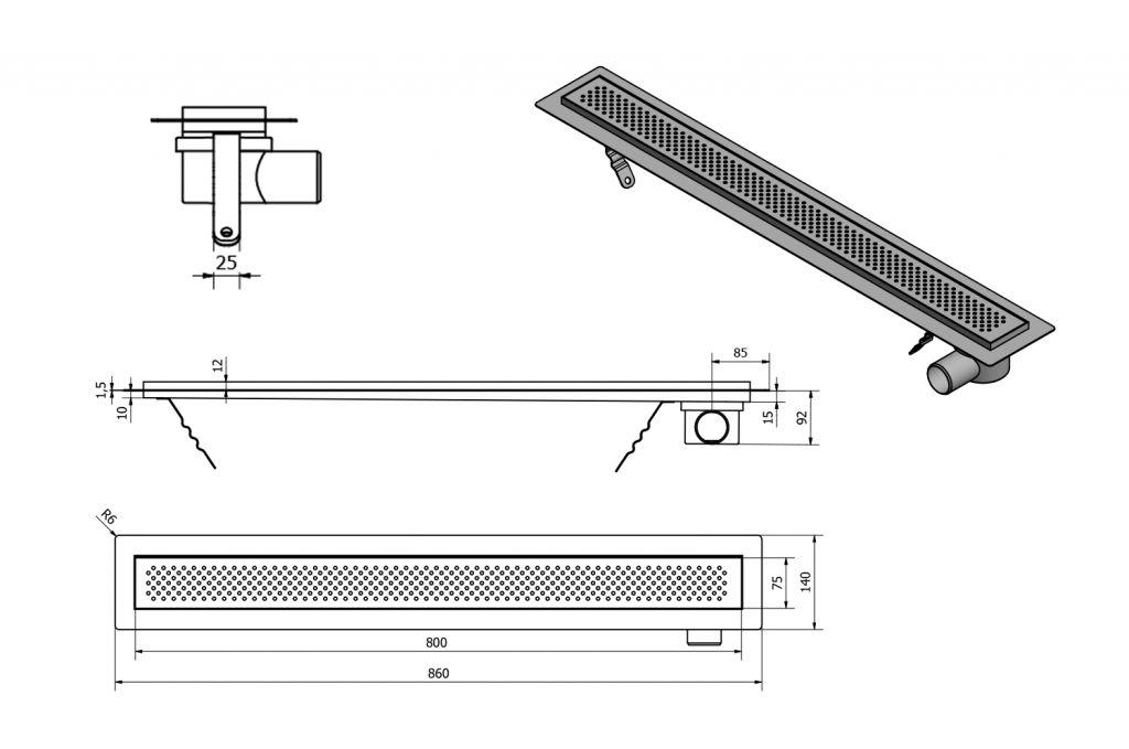 AQUALINE - KROKUS nerezový sprchový kanálek s roštem, 860x140x92 mm (2705-90)