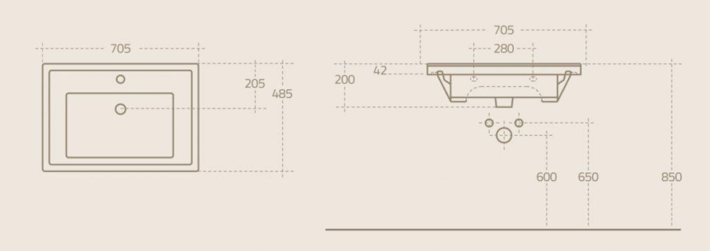 AQUALINE - ZENO 70 nábytkové umyvadlo 70x48,5cm (8070)