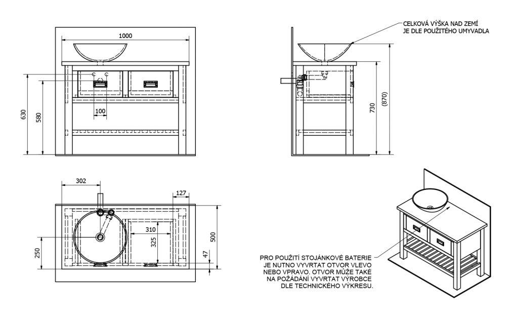 SAPHO - BRAND umyvadlová skříňka 100x73x50cm, mořený smrk (BA101)