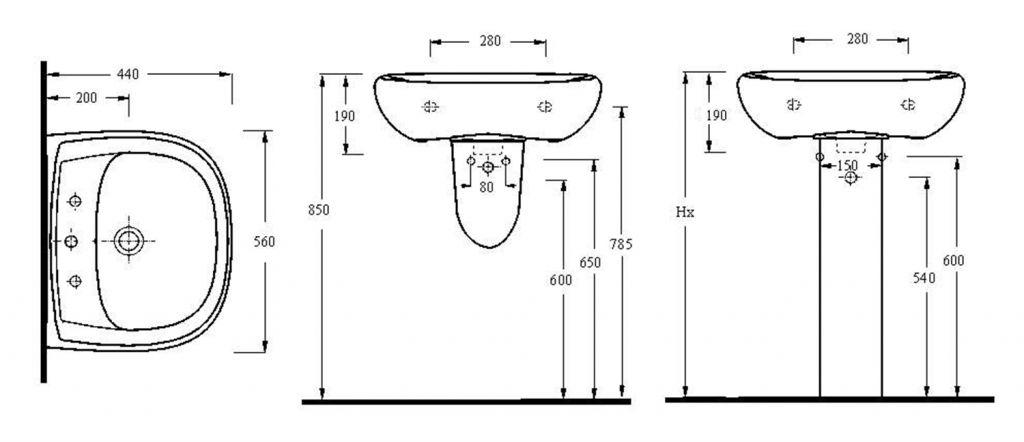 AQUALINE - Keramické umyvadlo 56x44cm (17561)