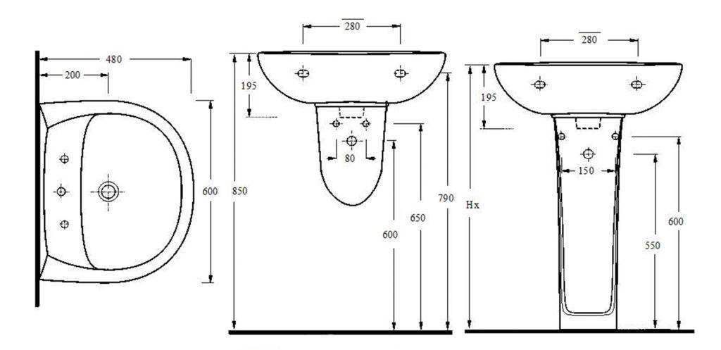 AQUALINE - Keramické umyvadlo 60x48cm (15601)