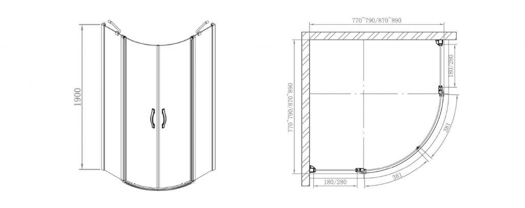 GELCO - ONE čtvrtkruhová sprchová zástěna 900x900 mm, čiré sklo (GO5890)