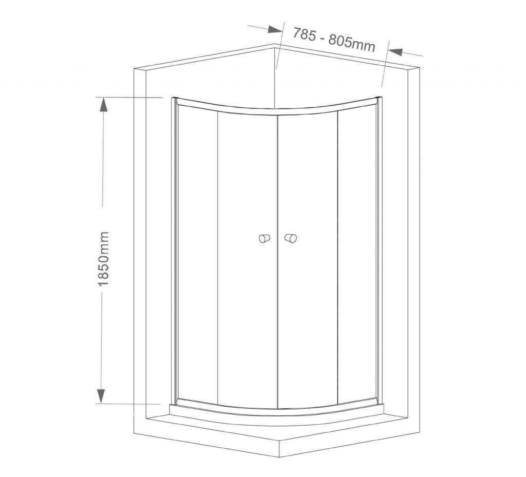 AQUALINE - ARLETA čtvrtkruhová sprchová zástěna 800x800mm, čiré sklo (HLS800)