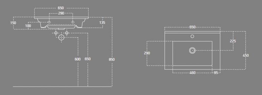 AQUALINE - ZUNO 65 nábytkové umyvadlo 65x45cm (9065)