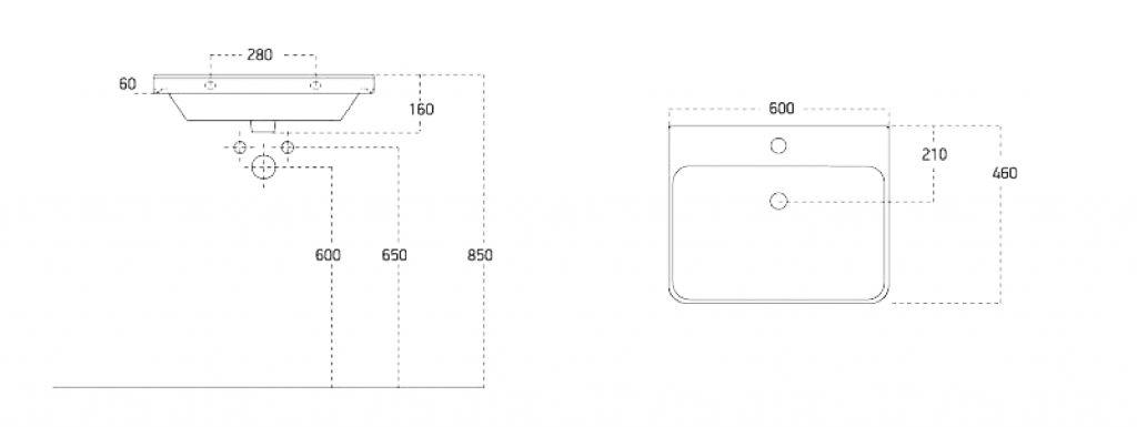 SAPHO - THALIE 60 nábytkové umyvadlo 60x46 cm (TH11060)