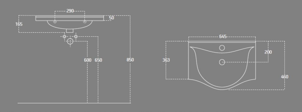 AQUALINE - ZARA 65 nábytkové umyvadlo 64,5x46cm (10065)