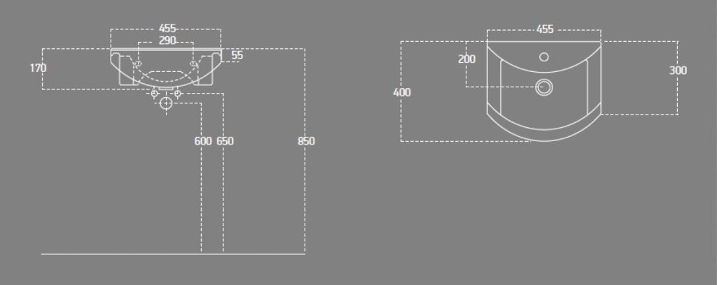 AQUALINE - ZERO 45 nábytkové umyvadlo 45,5x40cm (6045)