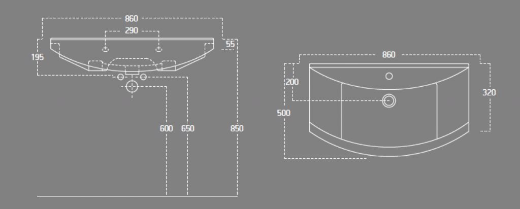 AQUALINE - ZERO 86 nábytkové umyvadlo 86x50cm (6085)