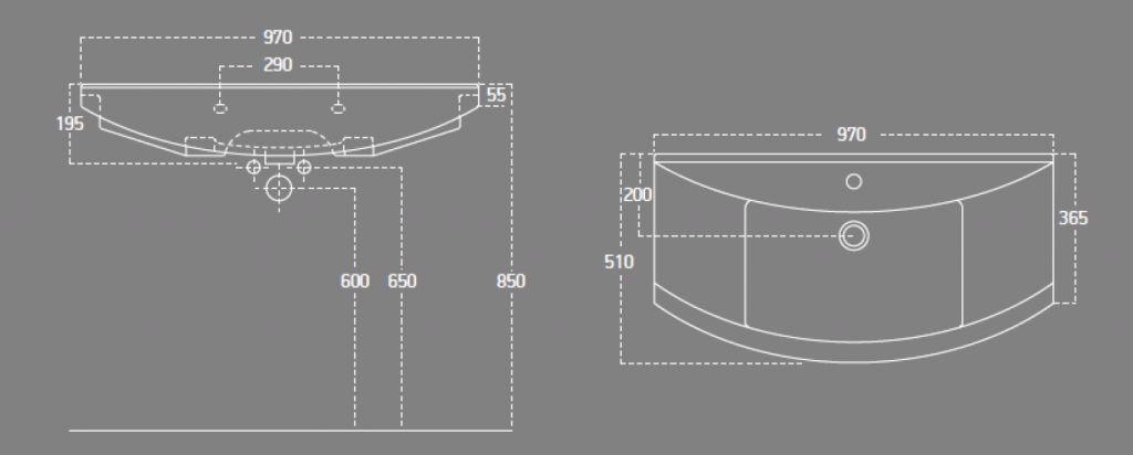 AQUALINE - ZERO 97 nábytkové umyvadlo 97x51cm (6095)