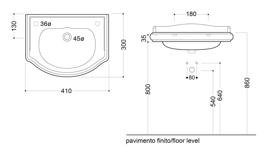 KERASAN - RETRO keramické umyvadlo 41x30cm, bez otvoru pro baterii, bez přepadu (103301)