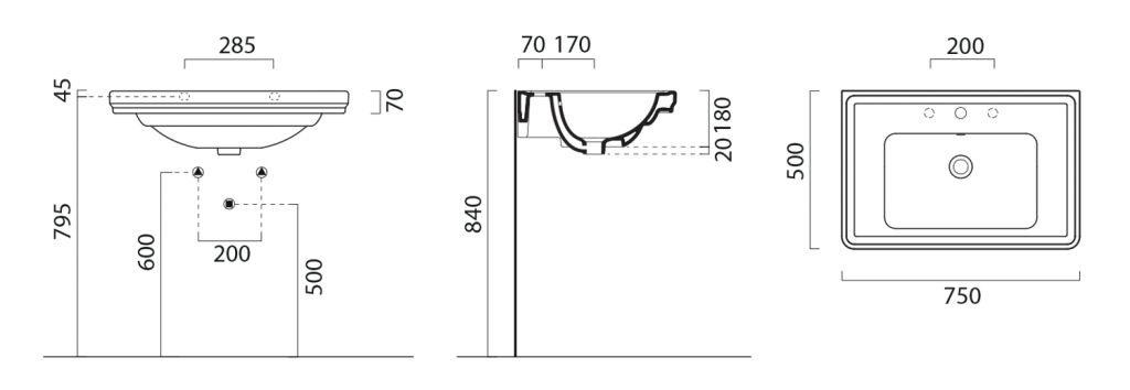 GSI - CLASSIC keramické umyvadlo 75x50 cm, bílá ExtraGlaze (8787111)