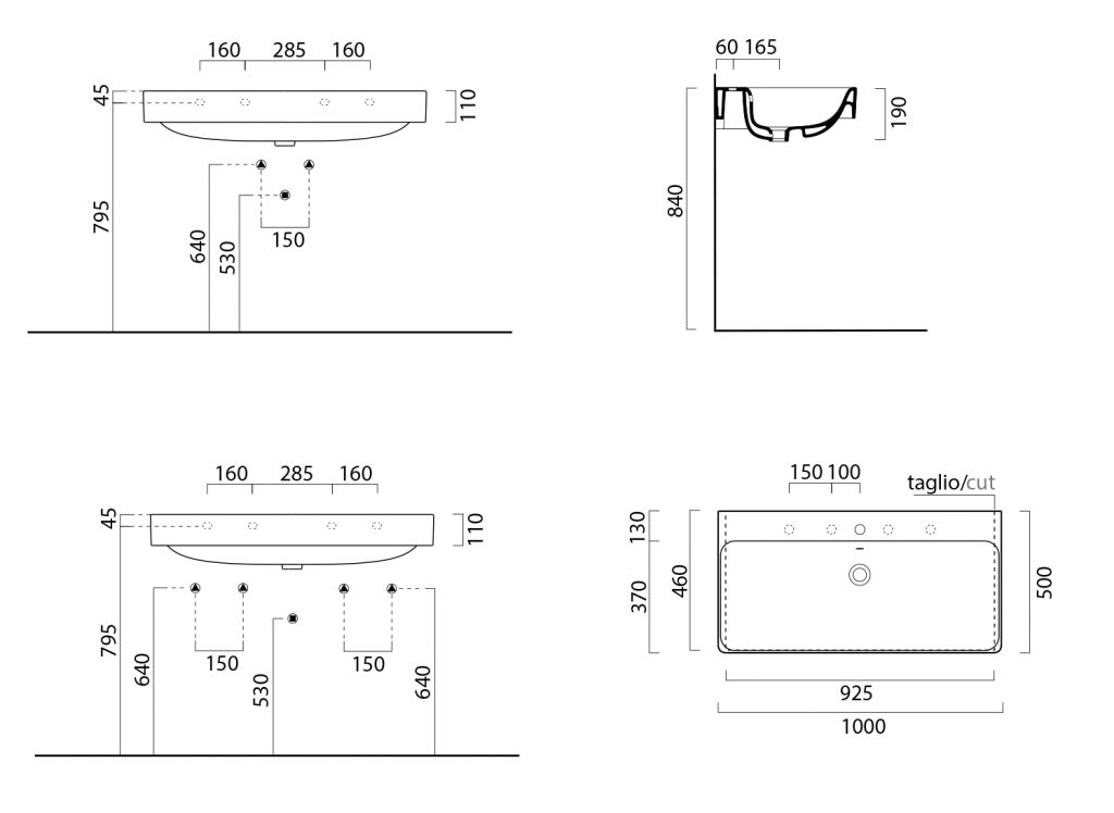 GSI - SAND keramické umyvadlo 100x50 cm, bílá ExtraGlaze (9023111)