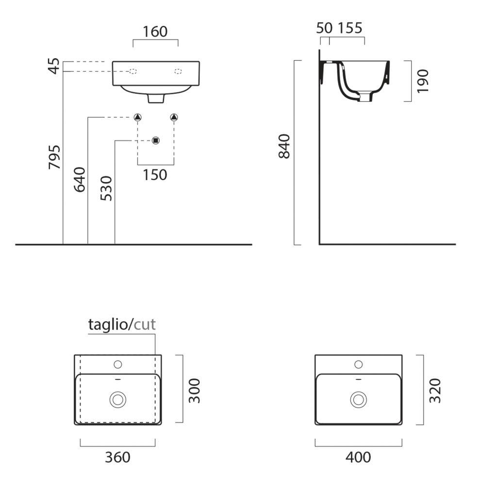 GSI - SAND keramické umyvadlo 40x32 cm, bílá ExtraGlaze (9084111)