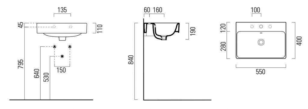 GSI - SAND keramické umyvadlo 55x40 cm, bílá ExtraGlaze (9086111)