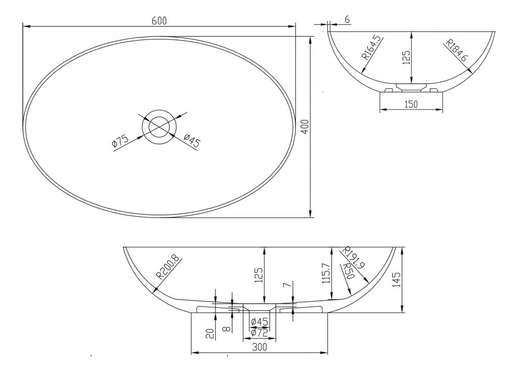 SAPHO - THIN oválné umyvadlo na desku, 60x40x14,5cm, bílá mat (WN893)