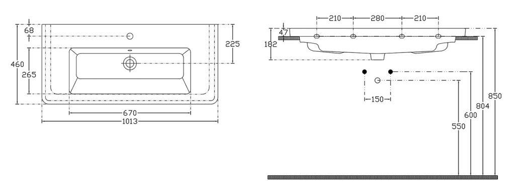 SAPHO - CITY keramické umyvadlo hranaté 100x18x45cm (KE100)