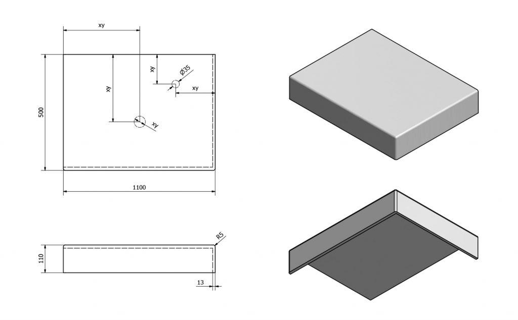SAPHO - TAILOR rockstone deska 110x50 cm, provedení límce R (TR110R)