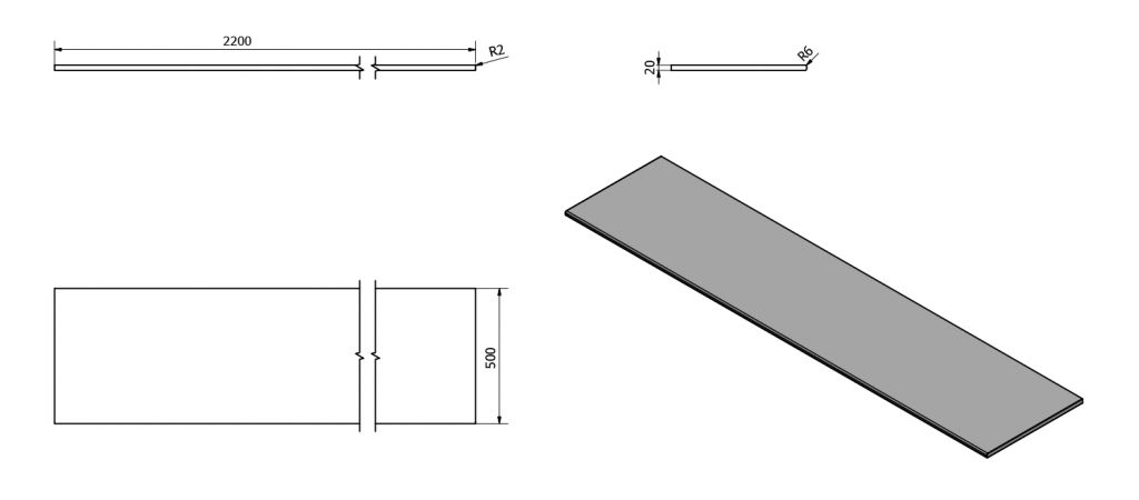 SAPHO - OLIVER deska 220x2x50cm, technický mramor, Calacatta (OV220-1219)