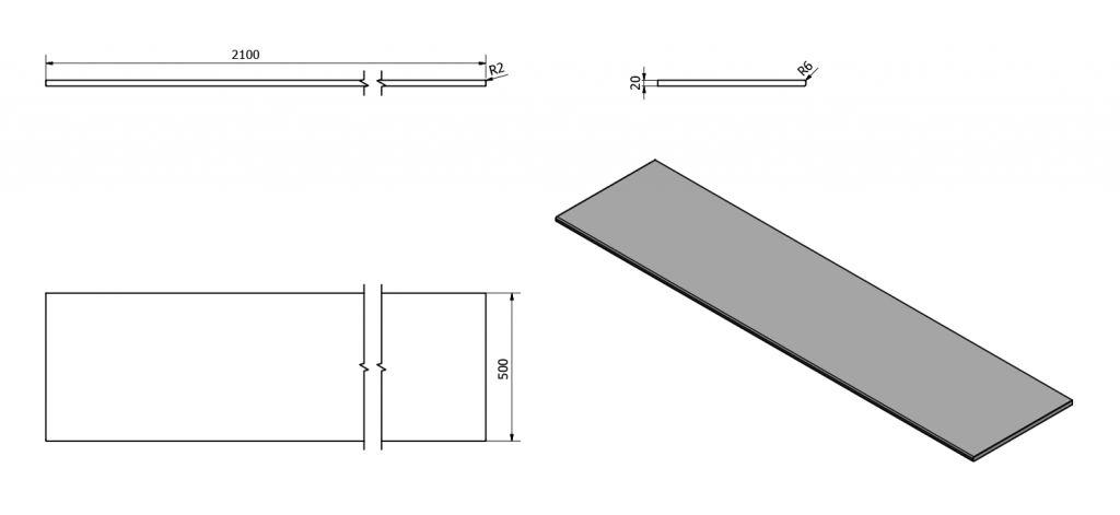SAPHO - OLIVER deska 210x2x50cm, technický mramor, Aurora (OV210-1217)