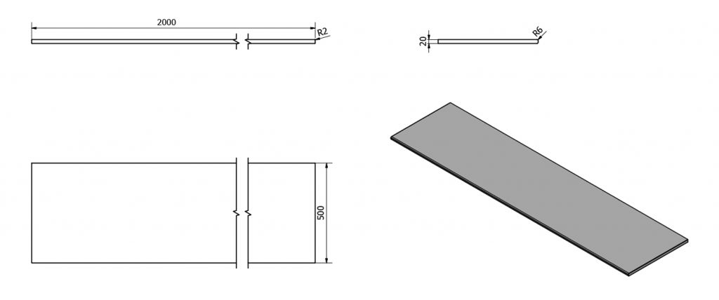 SAPHO - OLIVER deska 200x2x50cm, technický mramor, Botticino (OV200-1216)