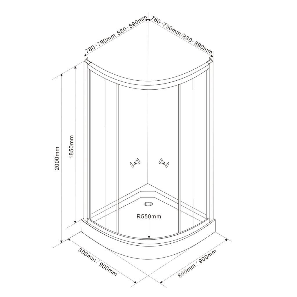 AQUALINE - ARLEN čtvrtkruhová sprchová zástěna 900x900 mm, sklo BRICK (BTR900)