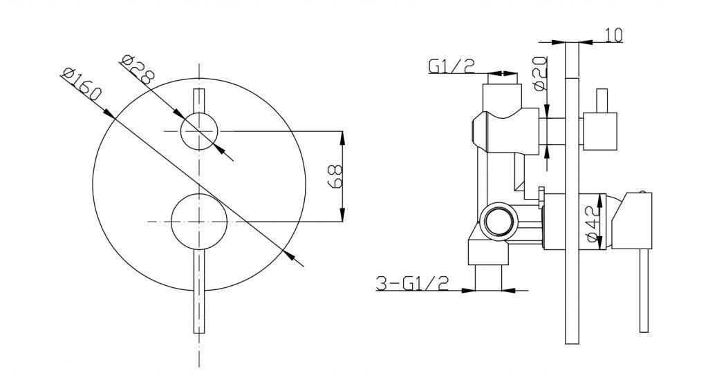 SAPHO - LUKA podomítková sprchová baterie, 2 výstupy, otočný přepínač, chrom (LK43)