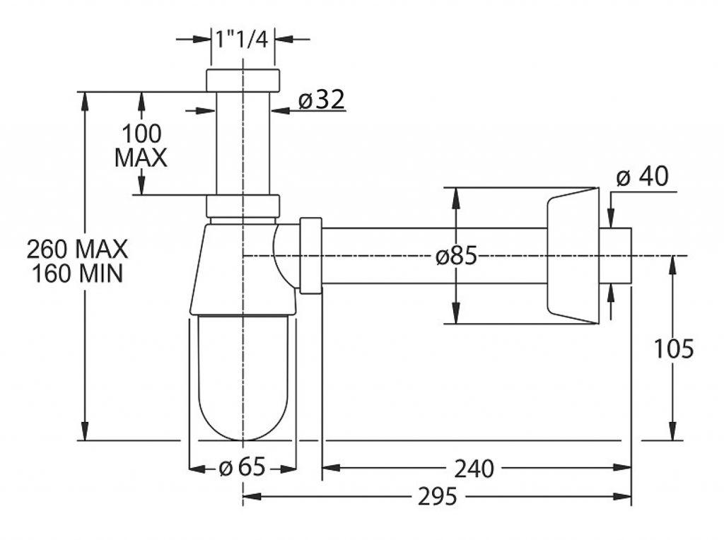 BONOMINI - THERMOTRAP umyvadlový sifon, 1'1/4, odpad 40 mm, ABS/chrom (0570EC23K7)