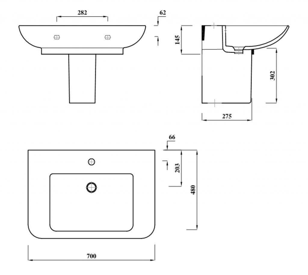 AQUALINE - DORI keramické umyvadlo s odkládací plochou 70x48 cm, bílá (FS1D1)