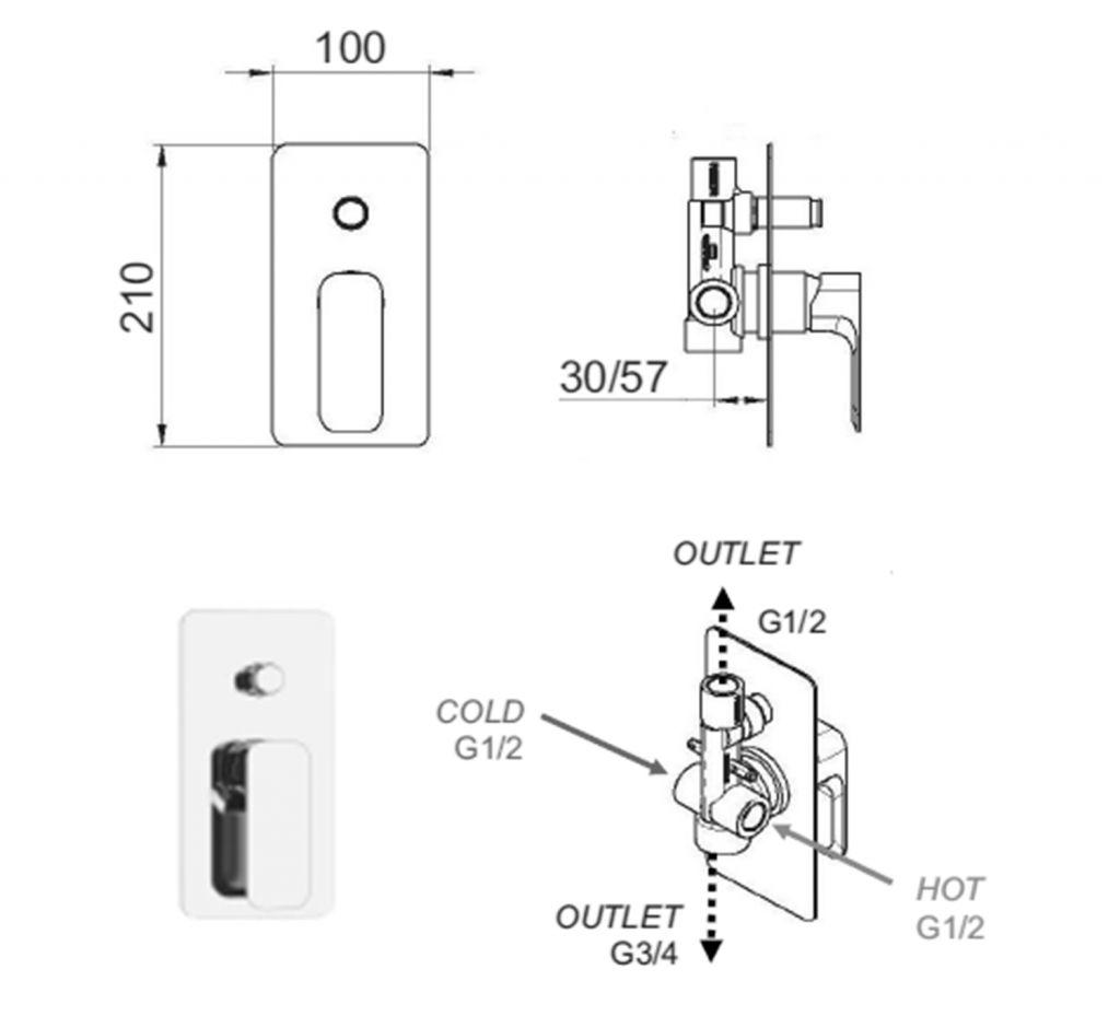 SAPHO - SPY podomítková sprchová baterie, 2 výstupy, černá mat (PY42/15)