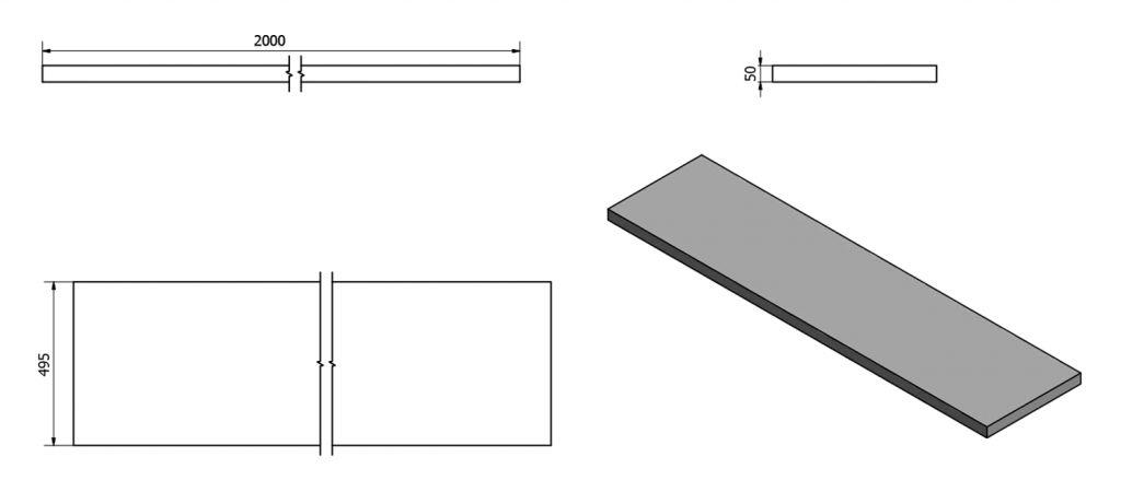 SAPHO - AVICE deska 200x50cm, old wood (AV208)