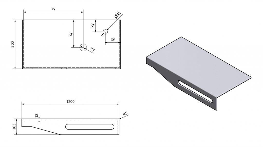SAPHO - TAILOR+ rockstone deska 120x50 cm, límec F, držák ručníku vpravo (TRP120F)